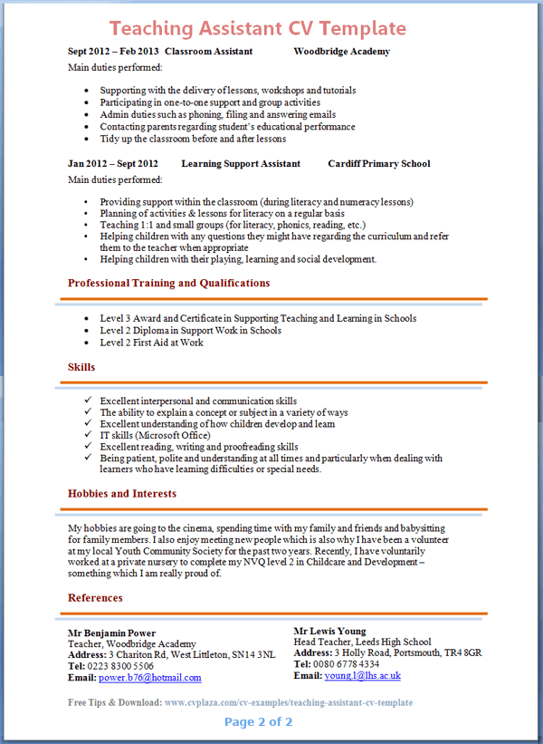 teaching assistant cv exle 2
