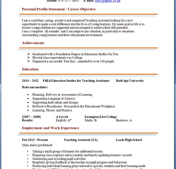 Sample resume for teacher assistant