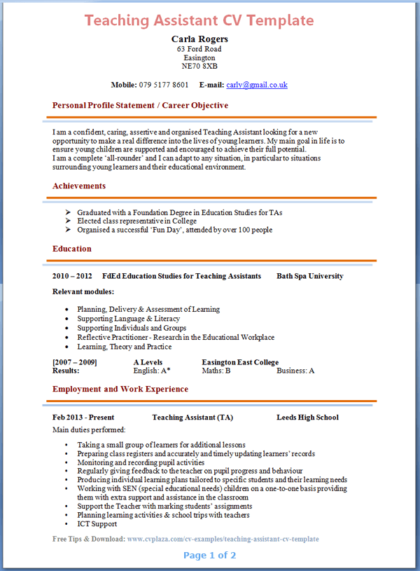 ta resume - Teaching Assistant Resume Description
