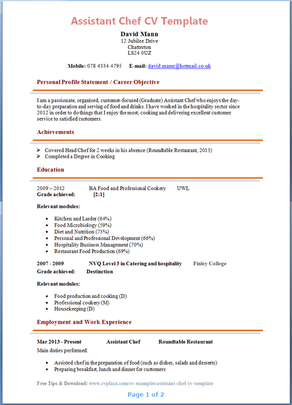 resume templates hospital chef