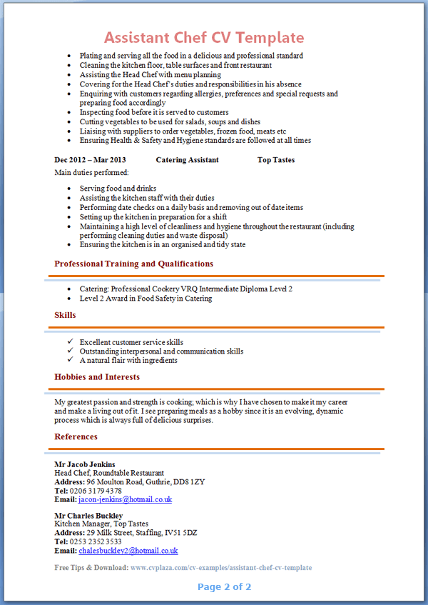 Assistant Chef Cv Template Page 2