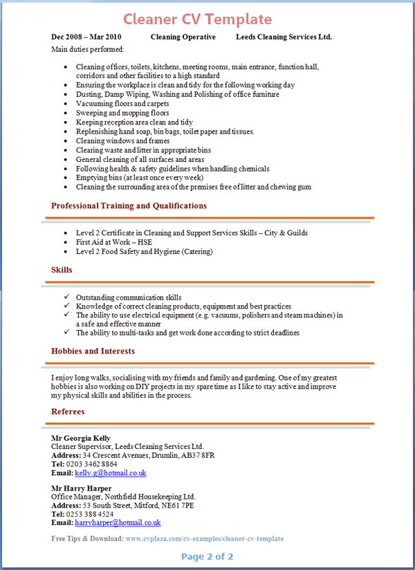 Cleaner cv sample insrenterprises cleaner cv sample yelopaper Image collections
