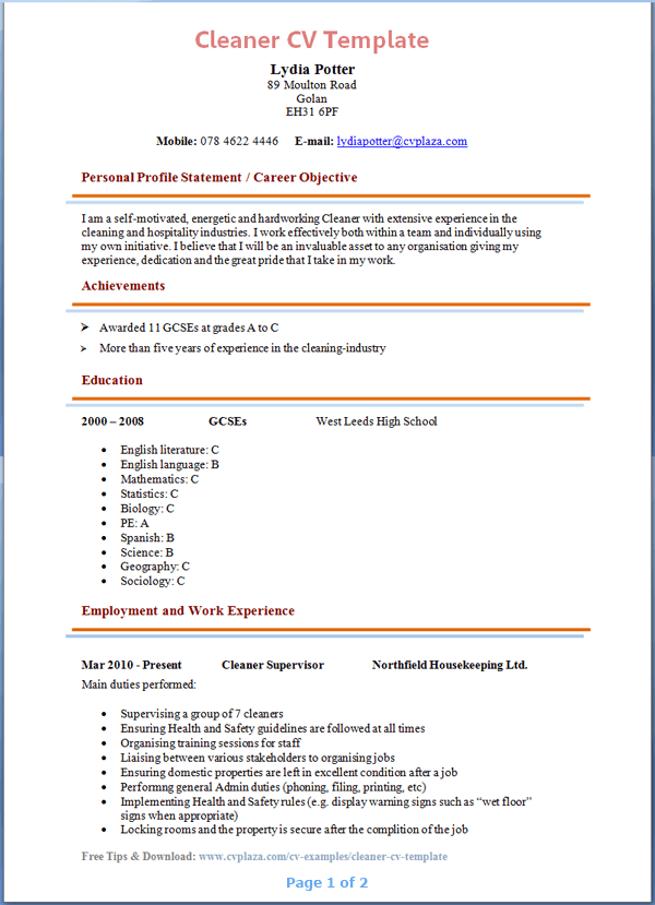 sample resume for cleaning lady
