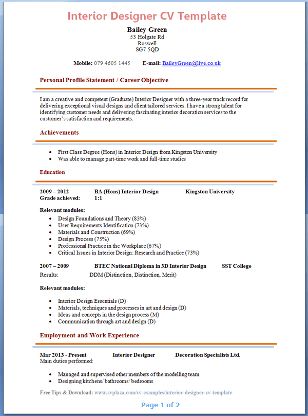 resume format for interior designer april onthemarch co