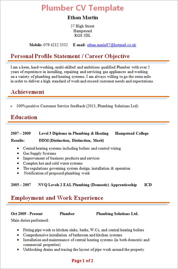 page 1 plumber cv