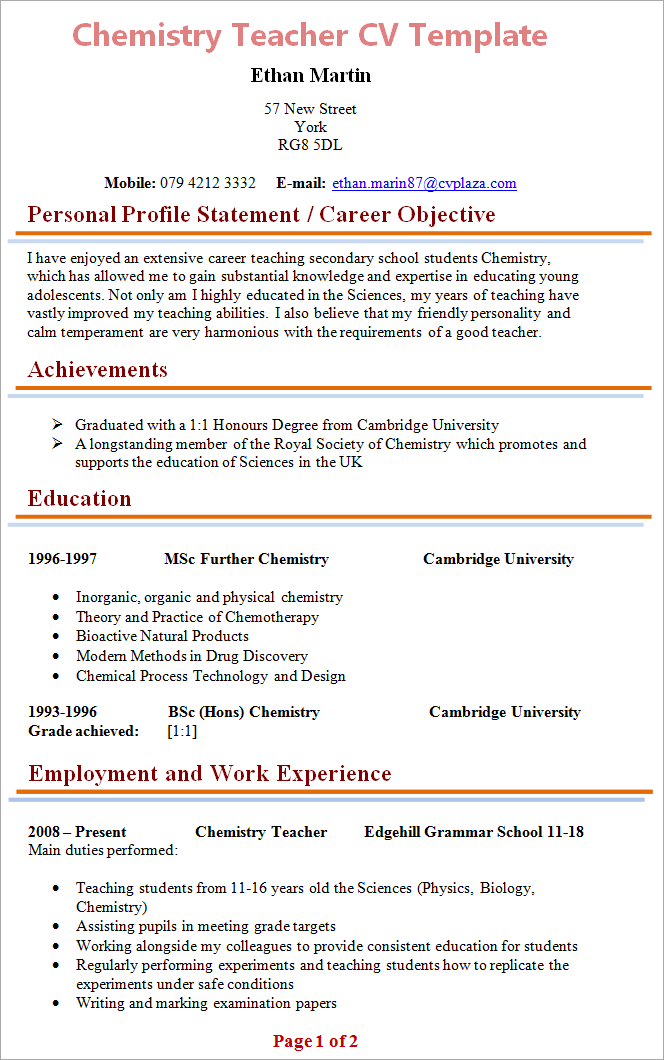 Chemistry Teacher Cv Template 1  Resume Template Education