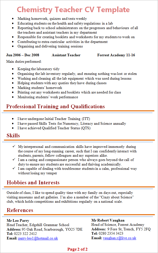 chemistry teacher cv template 2 - Science Teacher Resume Template