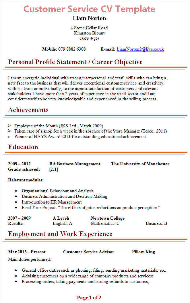 customer service sample cv