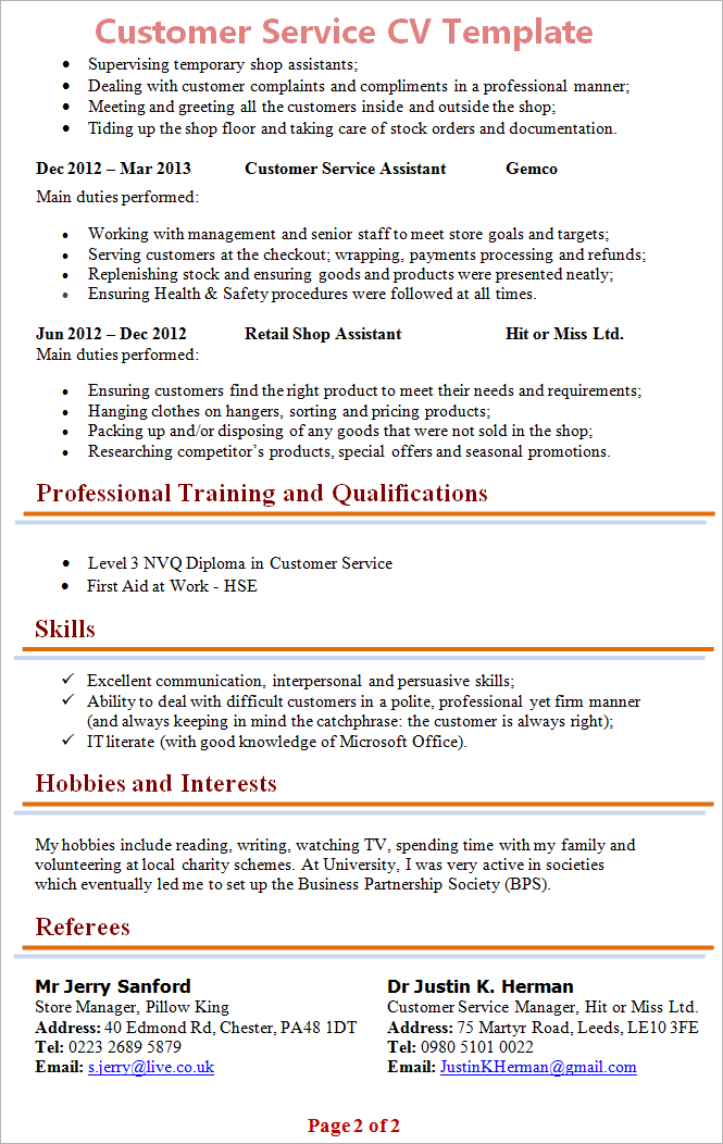 customer service cv template tips and download cv plaza