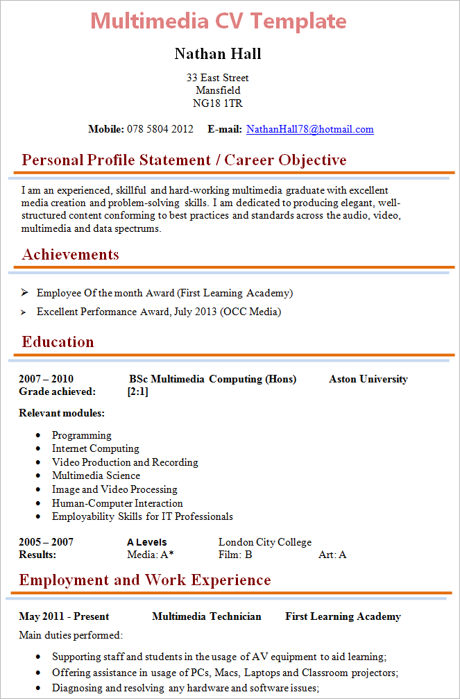 multimedia-technician-cv-template
