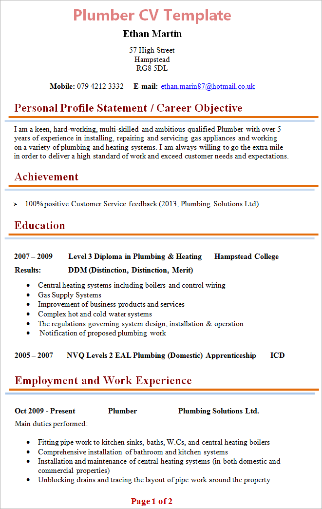 plumber cv template 1 - Boiler Engineer Sample Resume