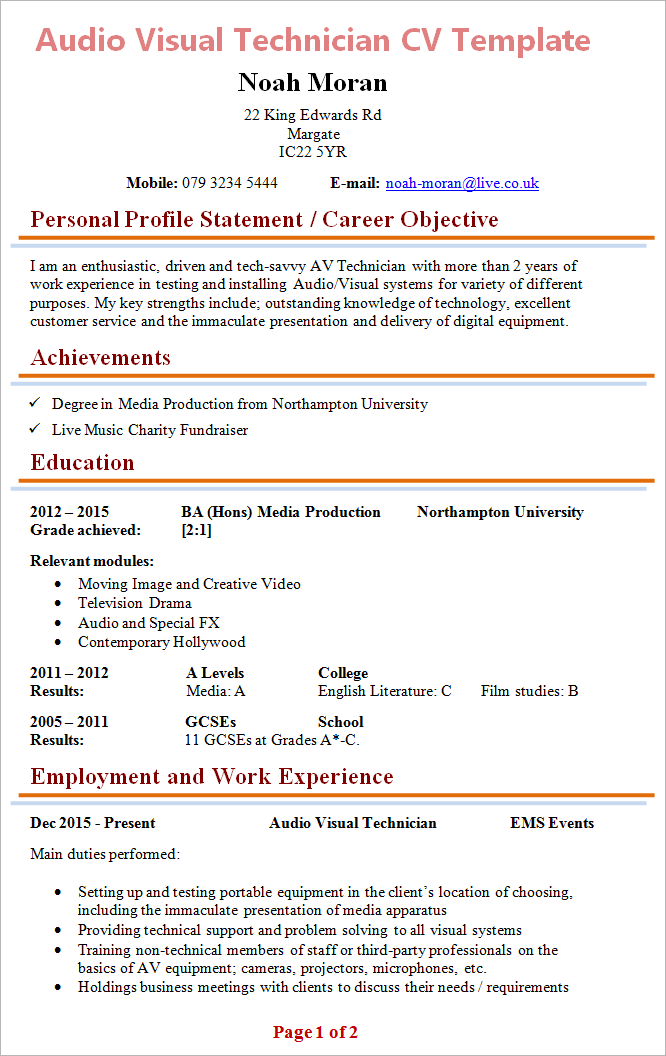 Charming Audio Visual Technician Cv Sample Myperfectcv . Av Tech Resume