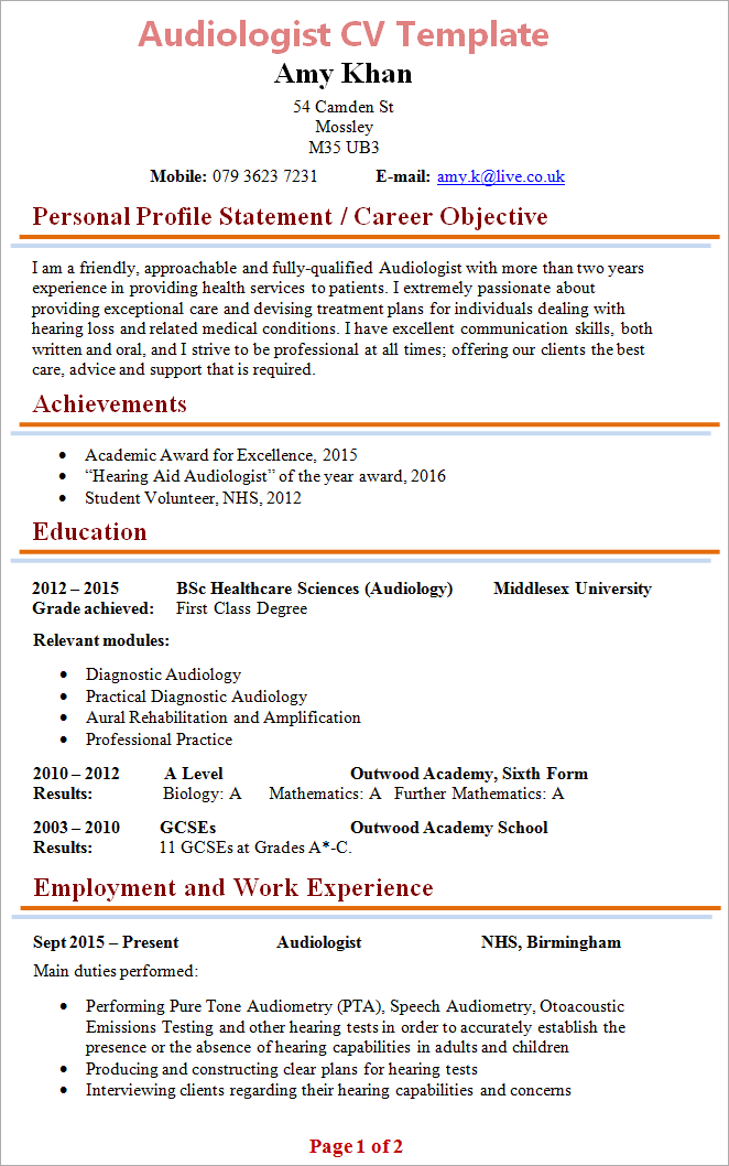 Audiologist Cv Template 1