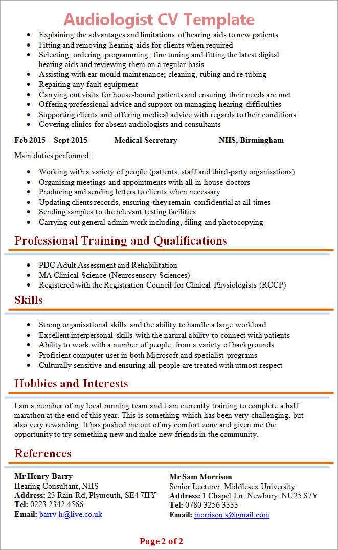 Awesome Audiologist Cv Template 2