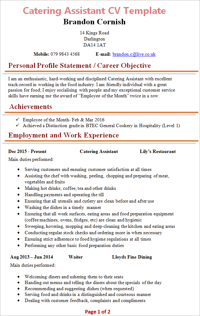 catering assistant cv template 1