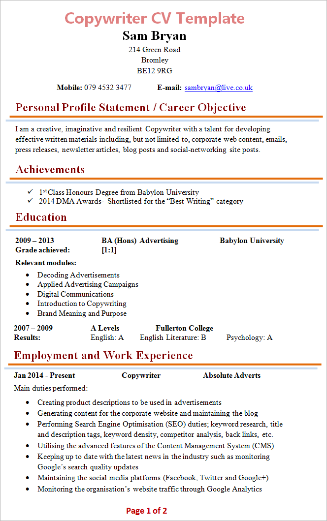 Copywriter Cv Template 1  Copywriter Resume