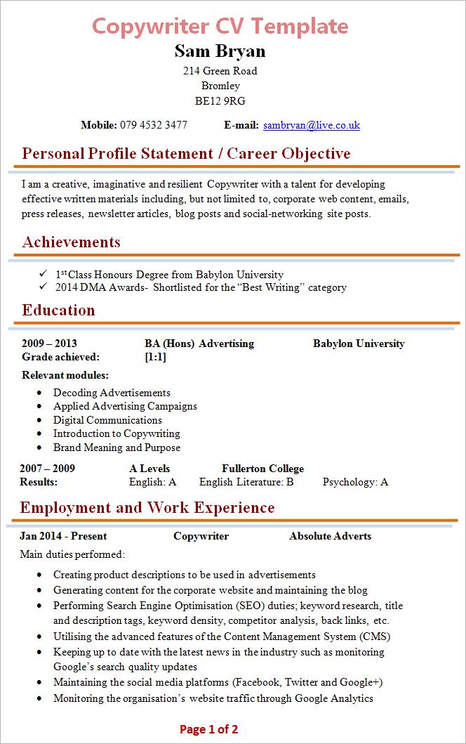 copywriter cv template 1