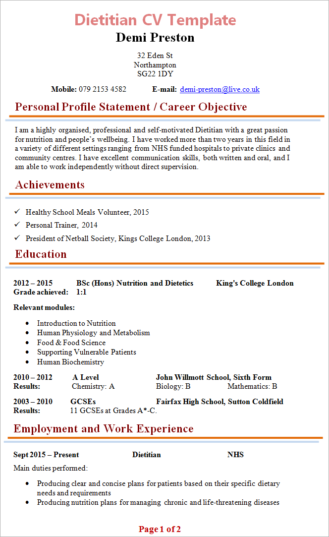 Dietitian CV Template Tips And Download