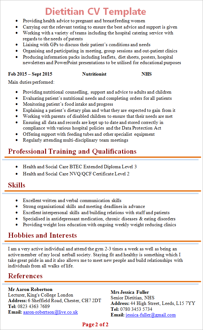 dietitian cv template tips and download cv plaza