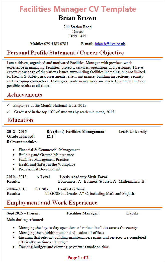 Facilities Manager Cv Template 1