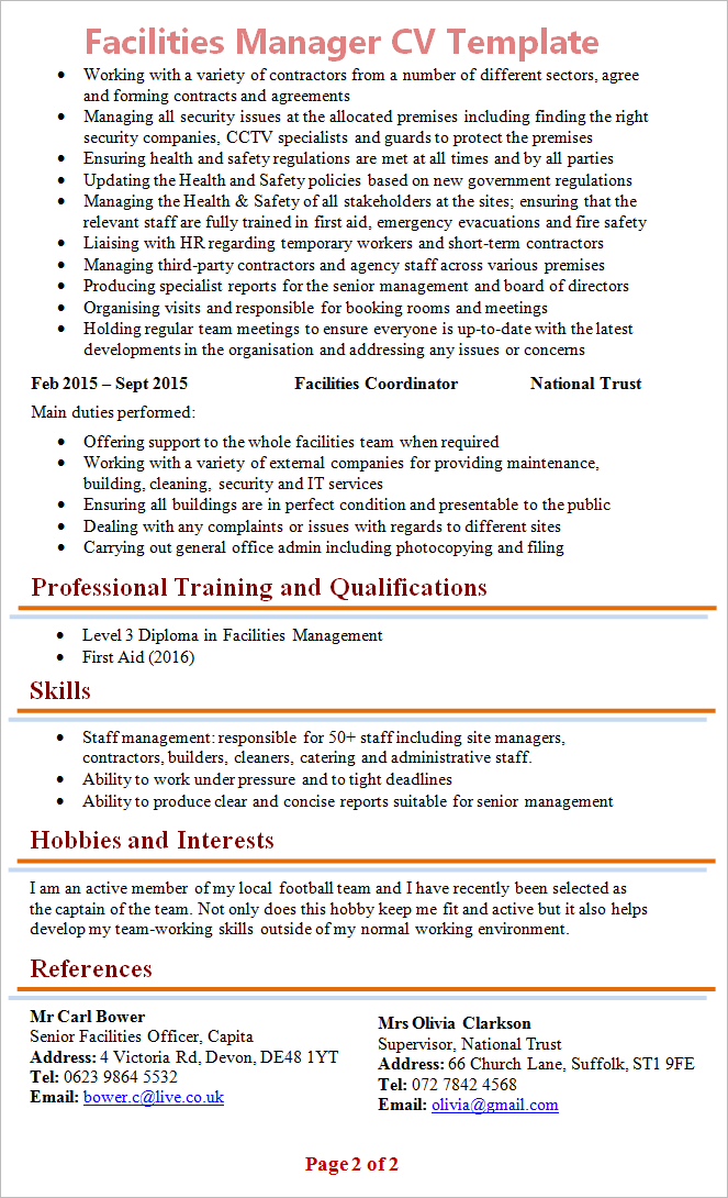 Facilities Manager Cv Template 2