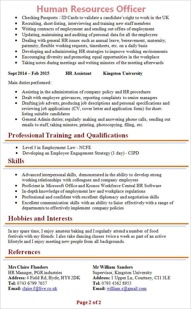 Hr Officer Cv Template 2