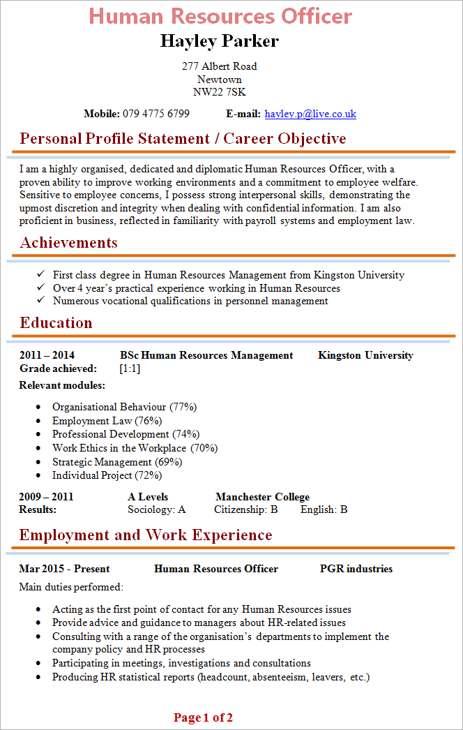 Human Resources Officer Cv Template 1