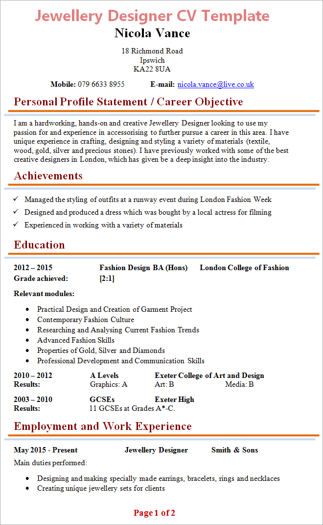 Jewellery Designer Cv Template Tips And Download Cv Plaza