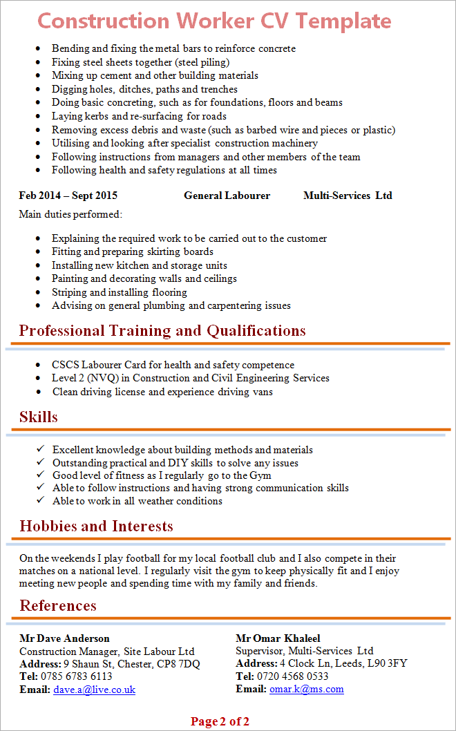 construction worker cv template