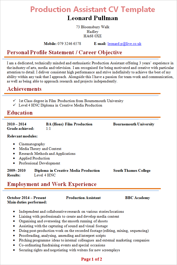 production assistant cv template 1 - Production Assistant Resume Template