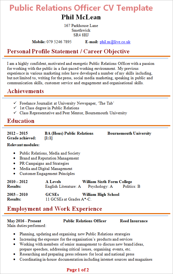 Pr Resume Example | Public Relations Officer Cv Template Tips And Download Cv Plaza