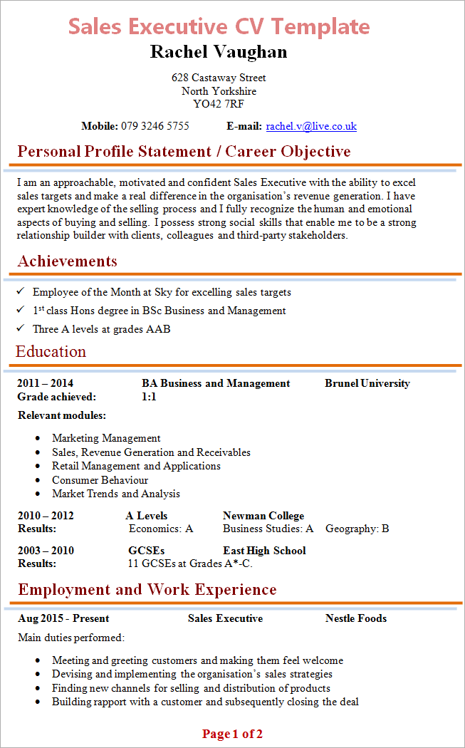 cv of sales executive - Sample Resume Format For Sales Executive