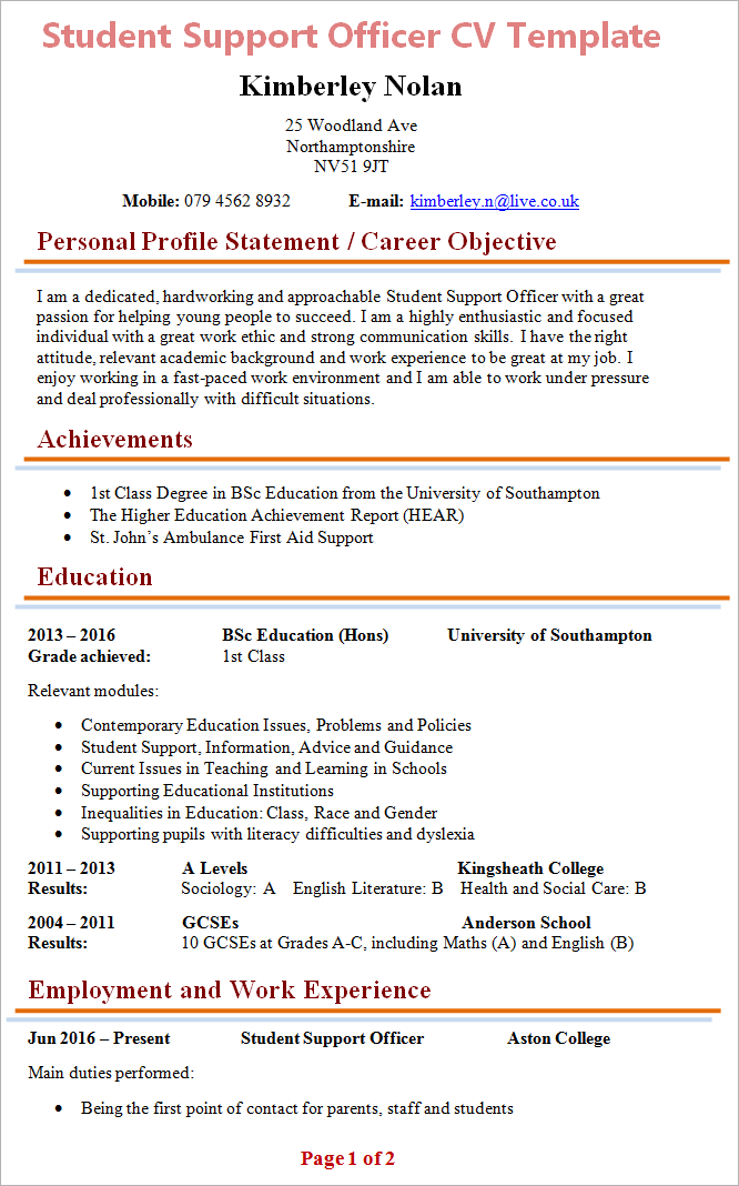 Student Support Officer CV Template + Tips and Download - CV Plaza