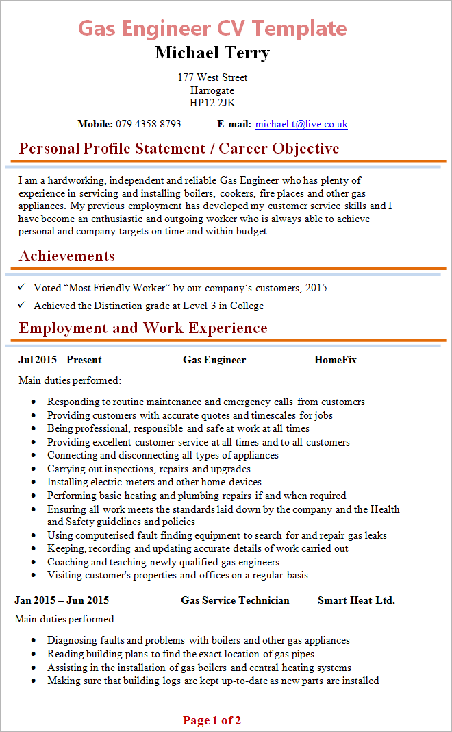 gas engineer cv template 1 - Boiler Engineer Sample Resume