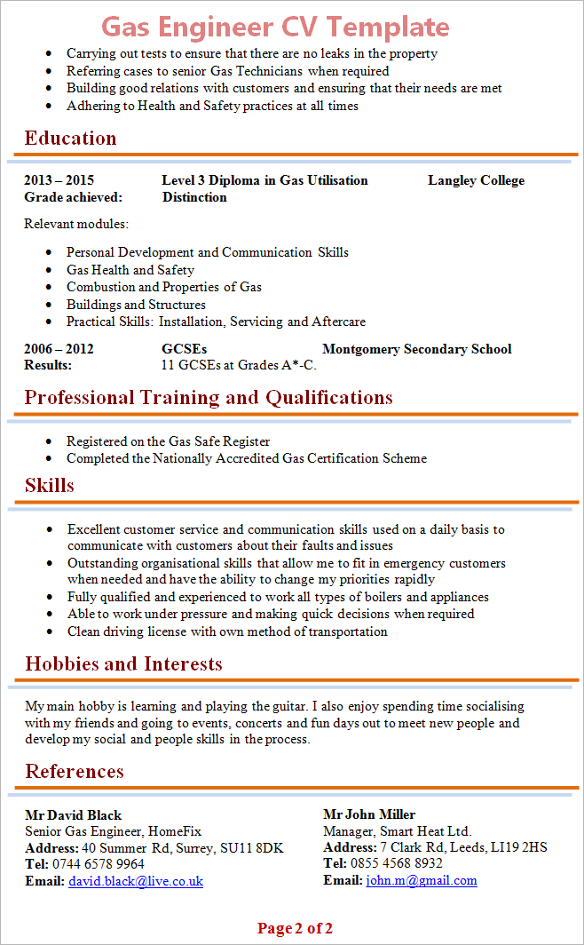 gas engineer cv template 2 - Boiler Engineer Sample Resume