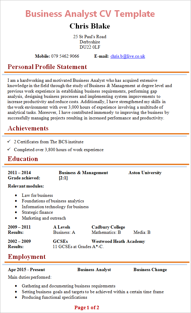 business-analyst-cv-template