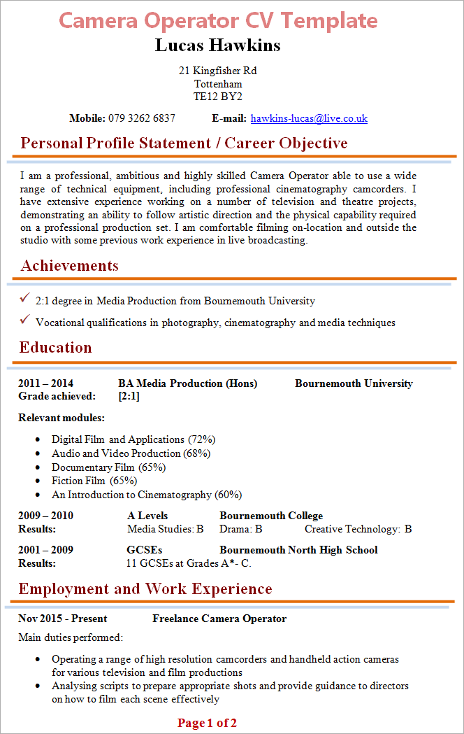 operator cv template