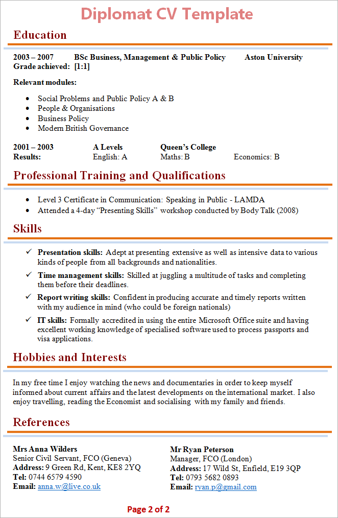 curriculum vitae for visa application