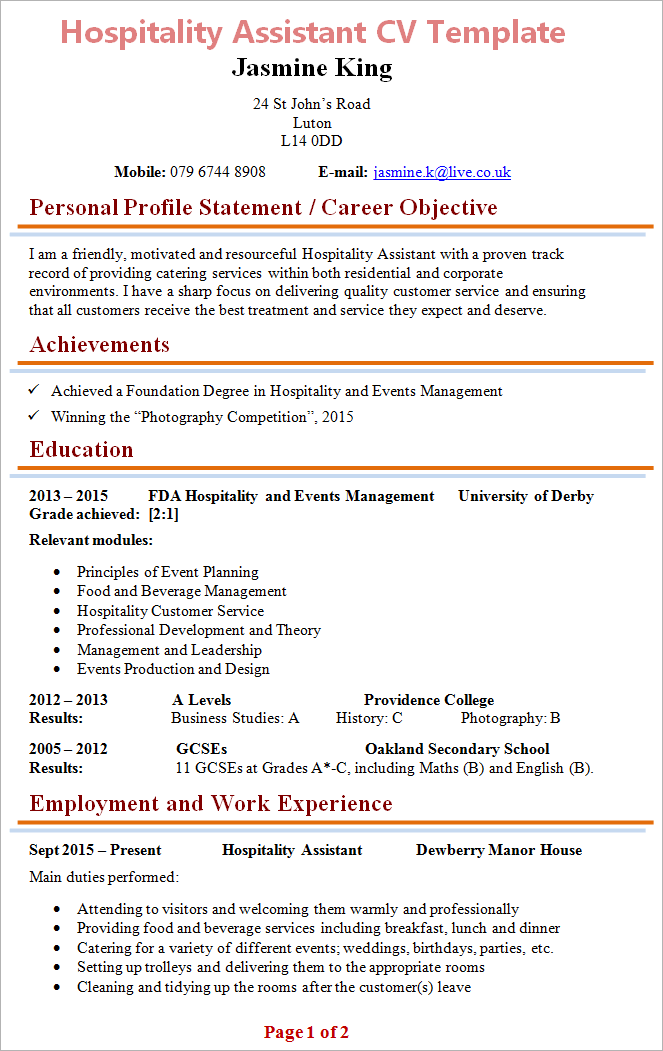 Wonderful Hospitality Assistant Cv Template 1