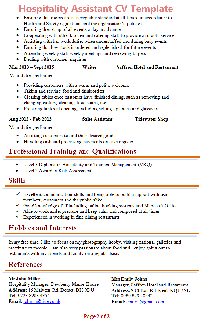 cv template for hospitality industry - hospitality assistant cv template 2
