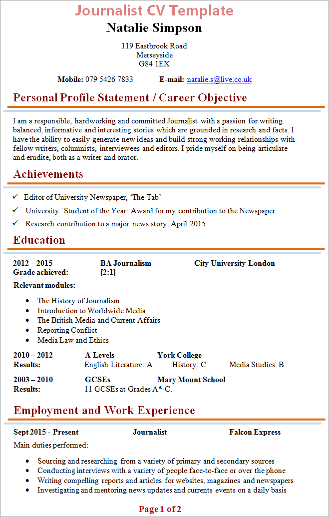 journalist-cv-template