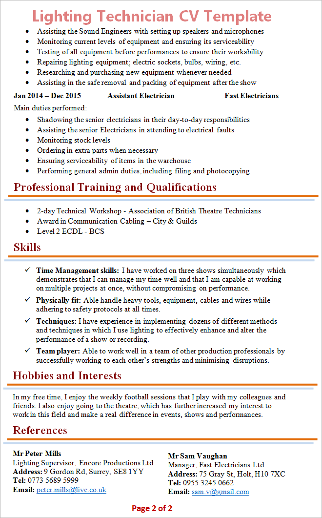 Technician Resume Template | Lighting Technician Cv Template Tips And Download Cv Plaza
