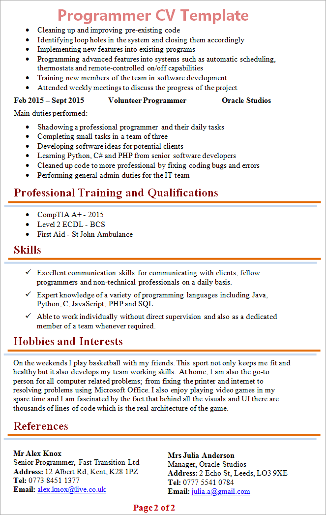 programmer cv template tips and download