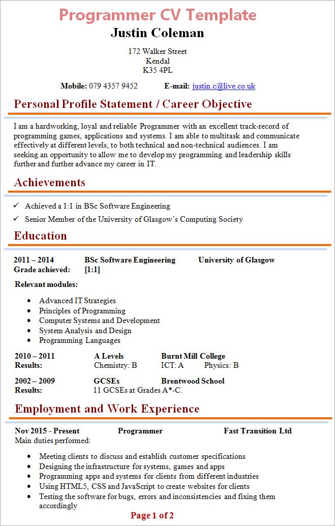 programmer cv template