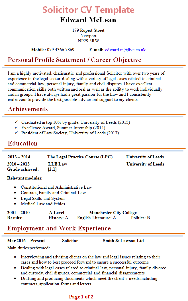 Solicitor CV Template + Tips and Download