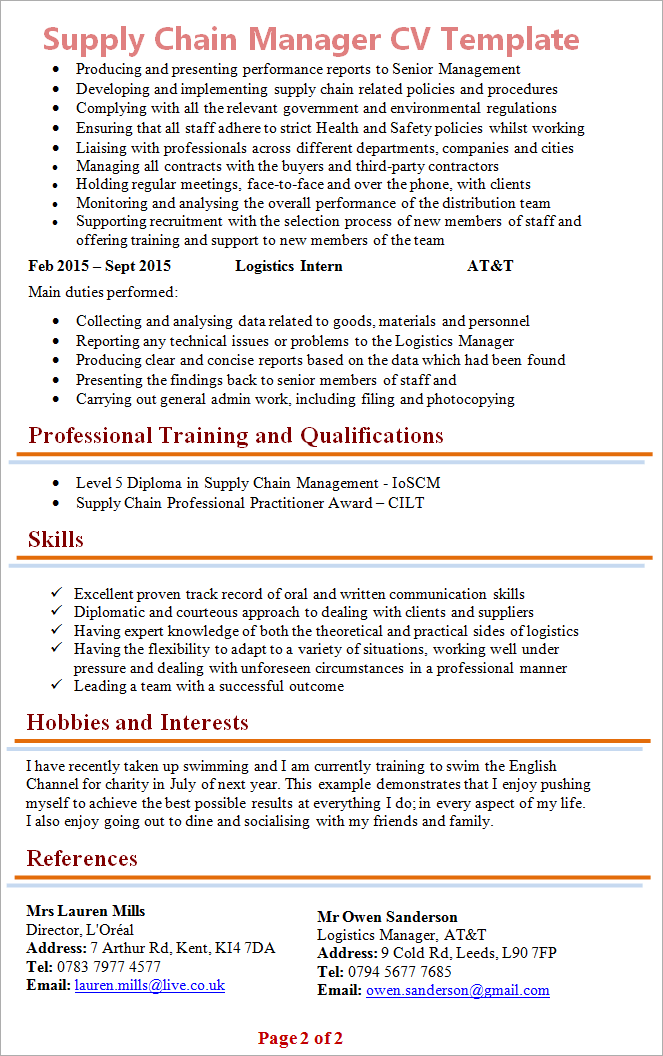 supply chain manager cv april onthemarch co