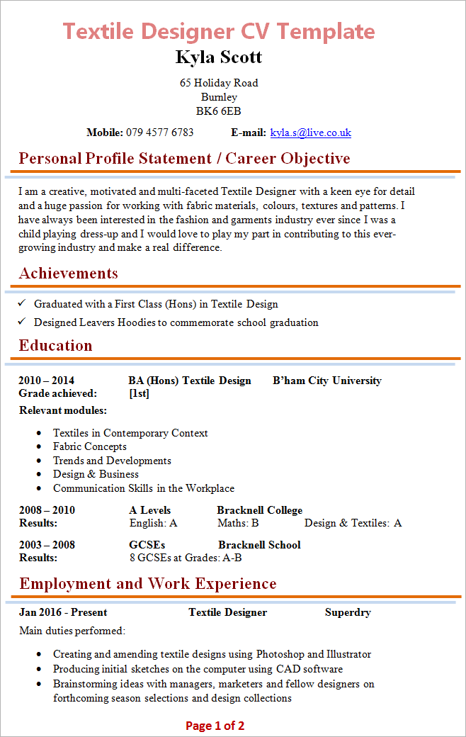 Great Textile Designer Resume