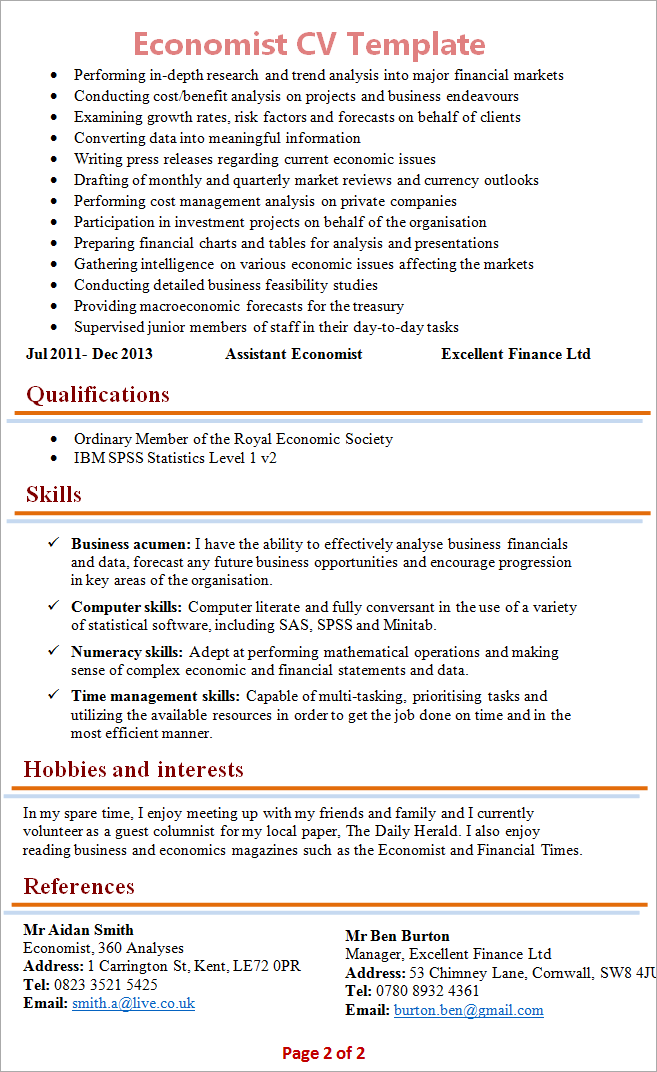 Economist Cv Template 2  Economics Major Resume