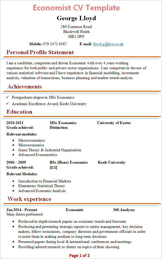 Sample economist resume