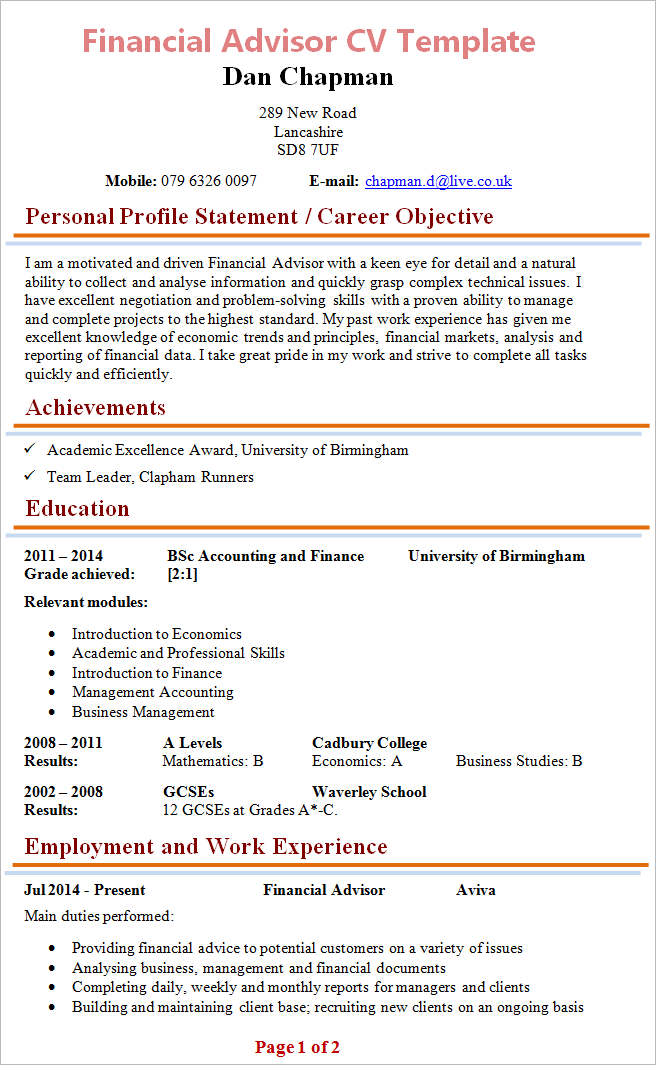 100 financial advisor resume exle no work experience